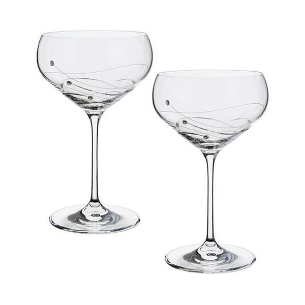 Dartington Glitz Swarovski Elements Set Of 2 Champagne Saucers