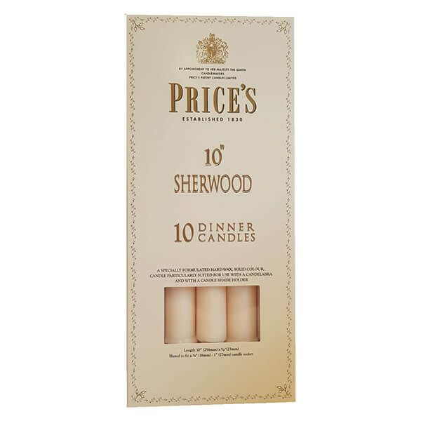 "Prices 10"" Sherwood Candle Ivory Pack Of 10"