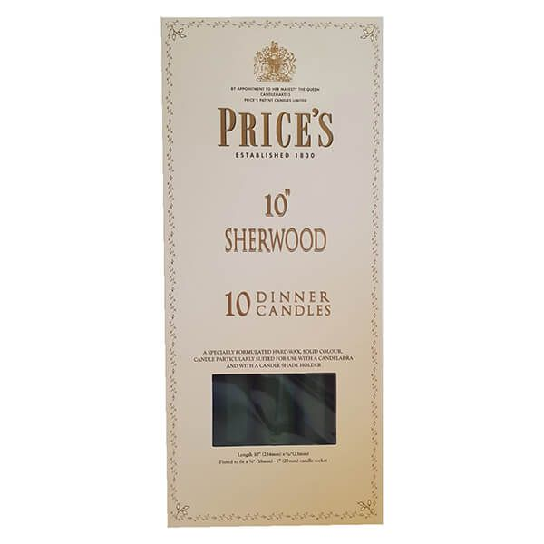 "Prices 10"" Sherwood Candle Evergreen Pack Of 10"