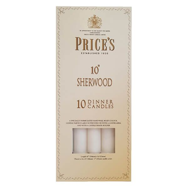 "Prices 10"" Sherwood Candle White Pack Of 10"