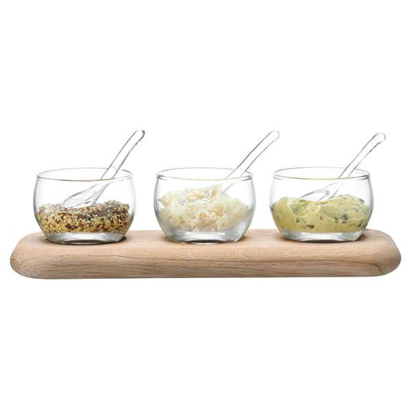 LSA Serve Condiment Set & Oak Base Clear
