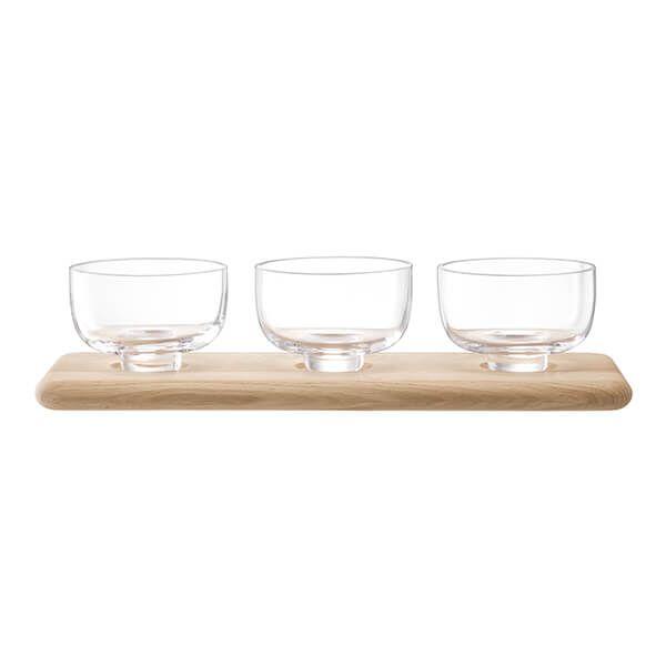 LSA Serve Arch Trio Bowl Set & Oak Base L33cm Clear