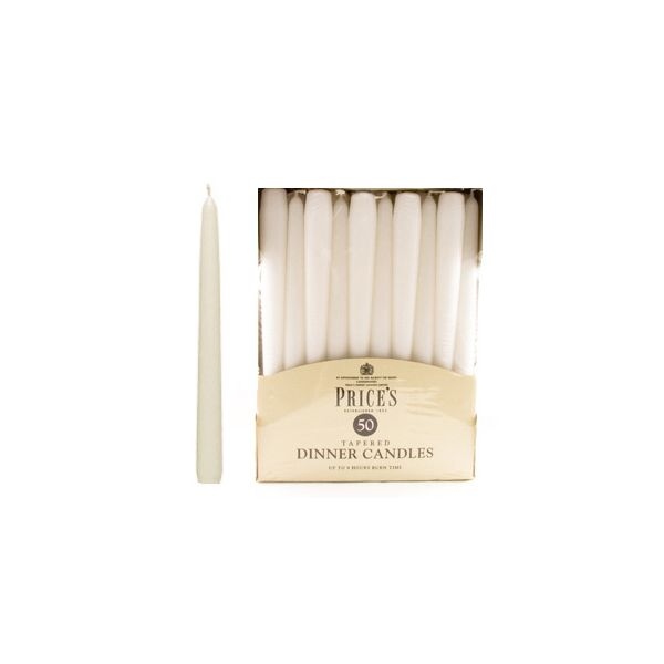 Prices Pack Of 50 Dinner Candles White
