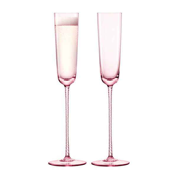 LSA Champagne Theatre 120ml Champagne Flute Braid / Dawn Pink Set Of 2
