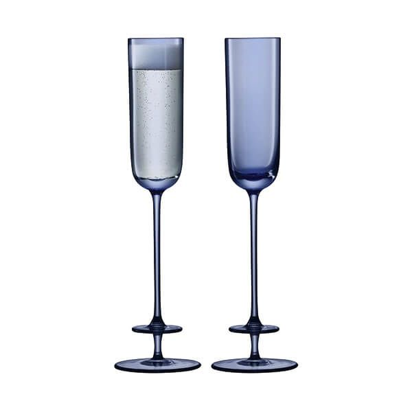 LSA Champagne Theatre 130ml Champagne Flute Tier / Midnight Blue Set Of 2
