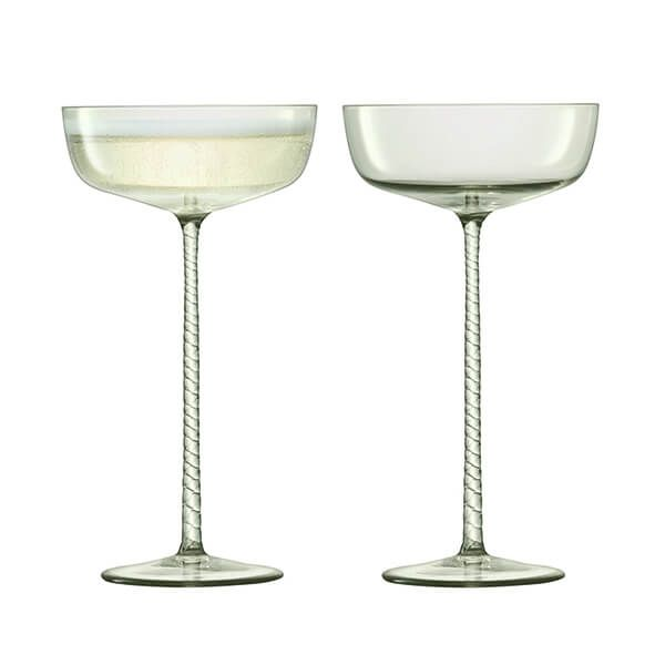 LSA Champagne Theatre 190ml Champagne Saucer Braid / Smoke Grey Set Of 2