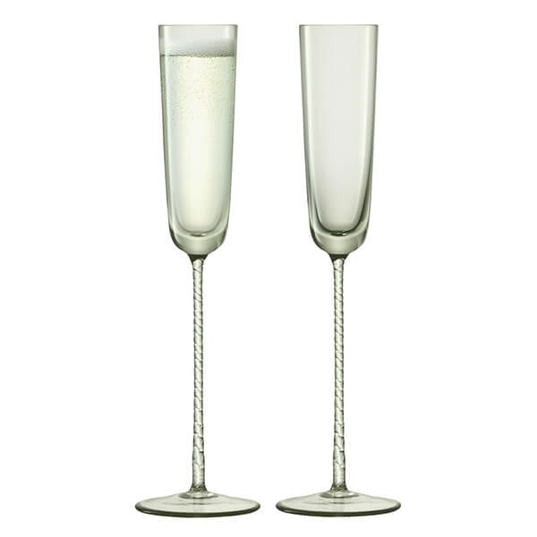 LSA Champagne Theatre 120ml Champagne Flute Braid / Smoke Grey Set Of 2