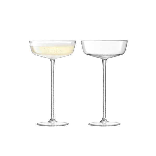 LSA Champagne Theatre Champagne Saucer 190ml Braid & Clear Set Of Two