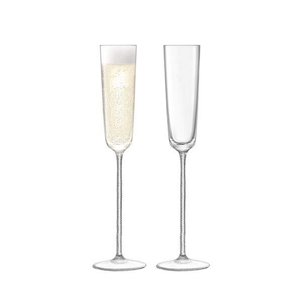 LSA Champagne Theatre Champagne Flute 120ml Braid & Clear Set Of Two