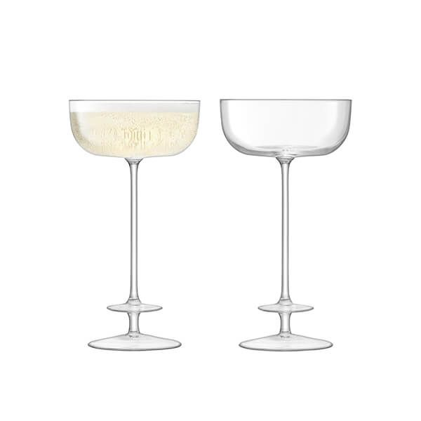 LSA Champagne Theatre Champagne Saucer 210ml Tier & Clear Set Of Two