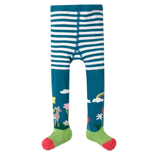 Frugi Organic Little Norah Tights Steely Blue/Deer