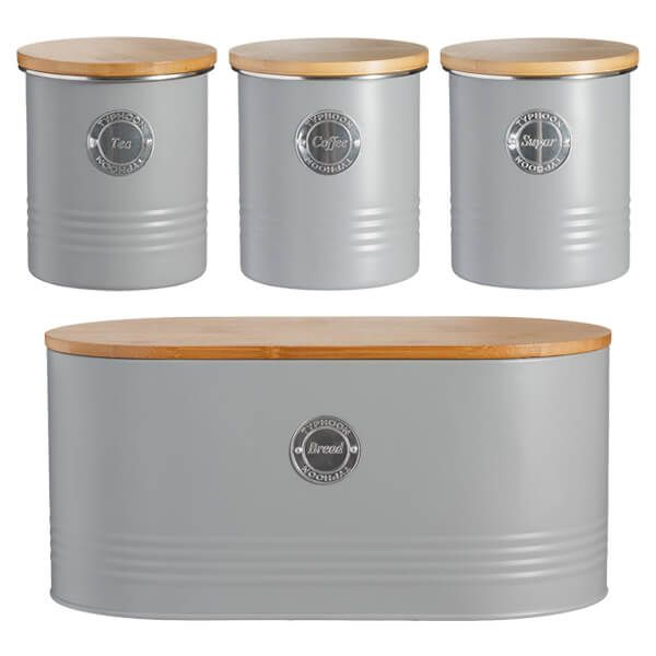 Typhoon Living 4 Piece Storage Set Tea, Coffee, Sugar & Bread Grey