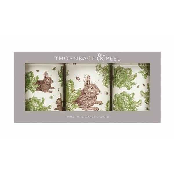 Thornback & Peel Rabbit & Cabbage Set of 3 Round Caddies