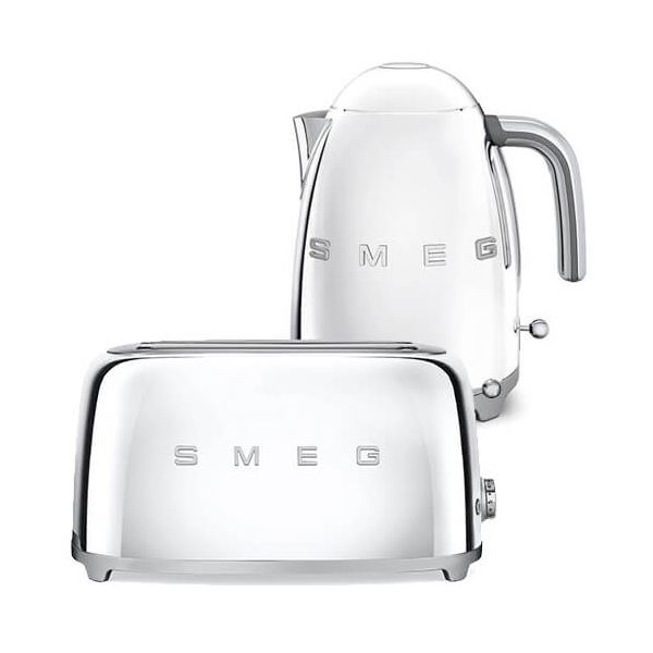 Smeg 4 Slice Toaster and Smeg 3D Logo Kettle, Chrome/Polished Steel