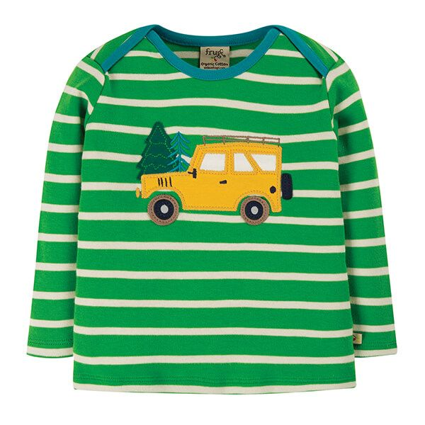 Frugi Organic Glen Green Breton/Truck Bobby Applique Top