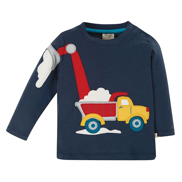 Frugi Organic Indigo/Truck Doug Applique Top