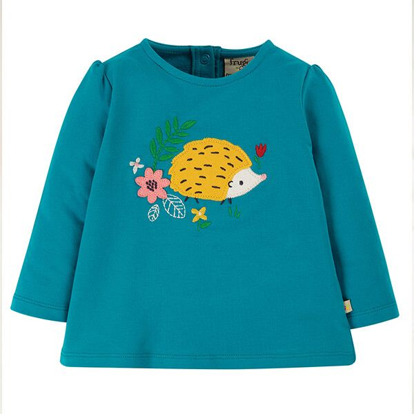 Frugi Organic Tobermory Teal/Hedgehog Little Alana Applique Top