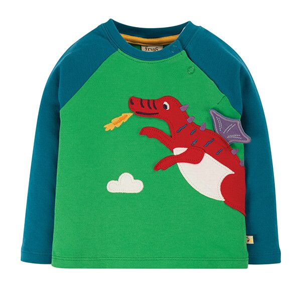 Frugi Organic Glen Green/Dragon Little Albert Applique Top