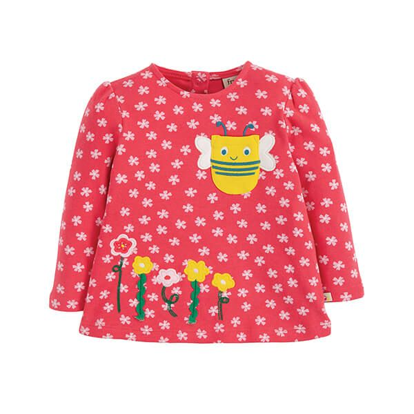 Frugi Organic Connie Applique Top Watermelon Cherry Blossom/Bee