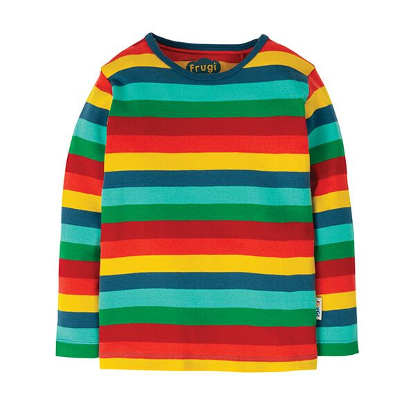 Frugi Organic Favourite Long Sleeve Tee Steely Blue Multi Stripe