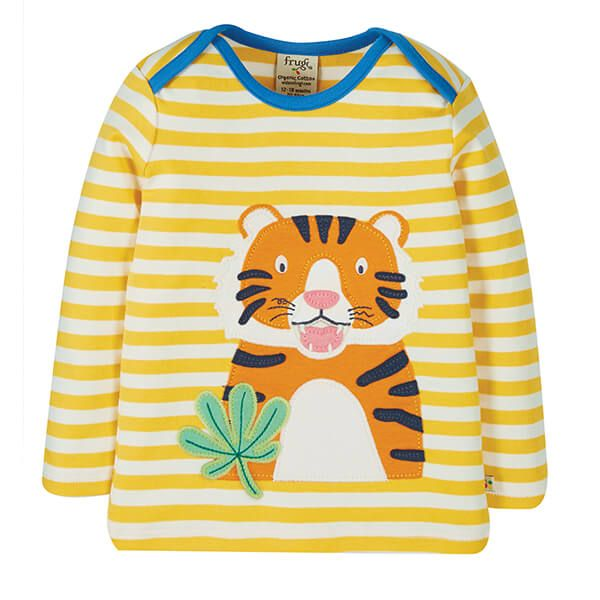 Frugi Organic Bumble Bee Stripe/Tiger Bobby Applique Top