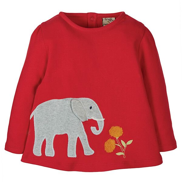 Frugi Organic True Red/Elephant Connie Applique Top