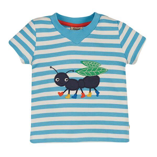Frugi Organic Mid Blue Stripe/Ant Easy On Tee