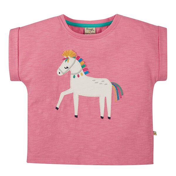 Frugi Organic Mid Pink/Horse Sophia Slub T-shirt
