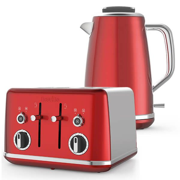 Breville Lustra Kettle & Toaster Set Red
