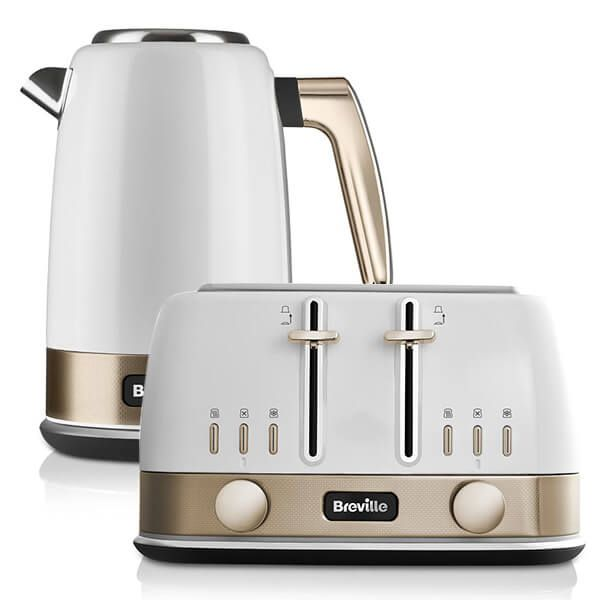 Breville New York Collection White & Gold Kettle and Toaster Set