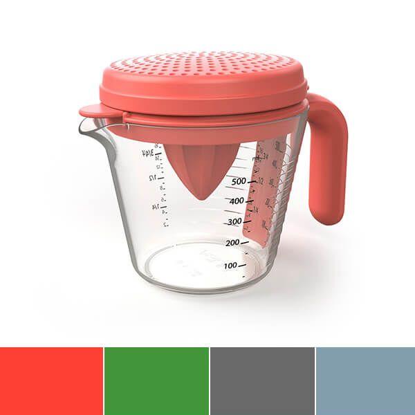 Venn Multi Use Strainer, Egg Separator & Juicer Measuring Jug Set Red
