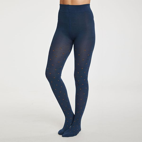 Thought Petrol Blue Spot Tights
