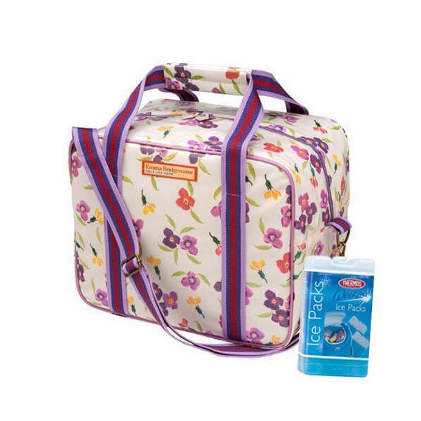 Emma Bridgewater Wallflower PVC Cool Bag FREE Thermos Set Of Two Ice Packs 400g