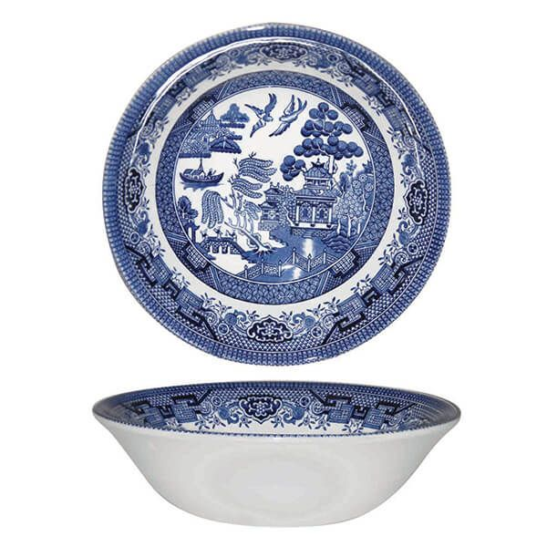 Churchill China Blue Willow Scollop Bowl 22cm