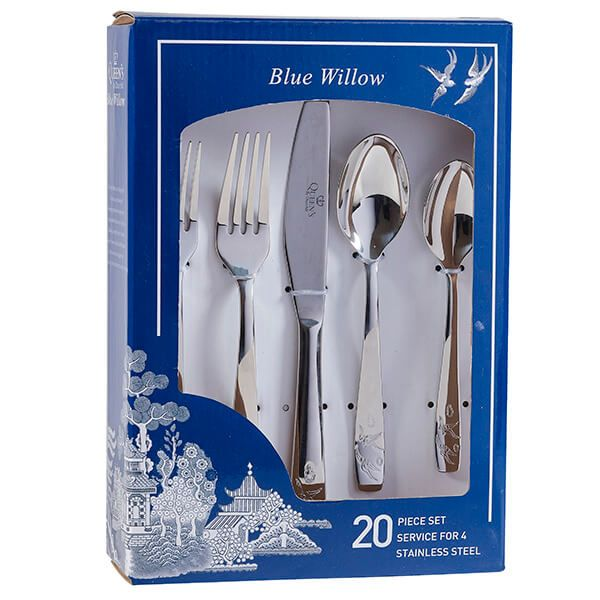 Churchill China Blue Willow 20 Piece Cutlery Set Gift Box