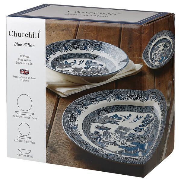 Churchill China Blue Willow 12 Piece Dinner set
