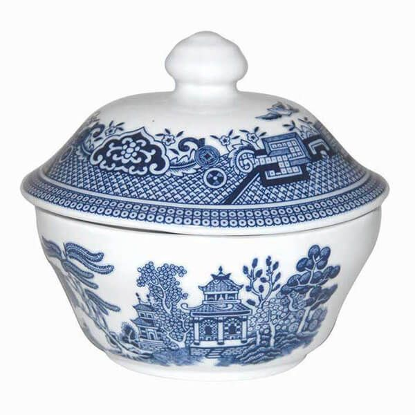 Churchill China Blue Willow Georgian Covered Sugar 160ml