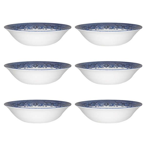 Churchill China Blue Willow Oatmeal Bowl 15.5cm Set Of 6