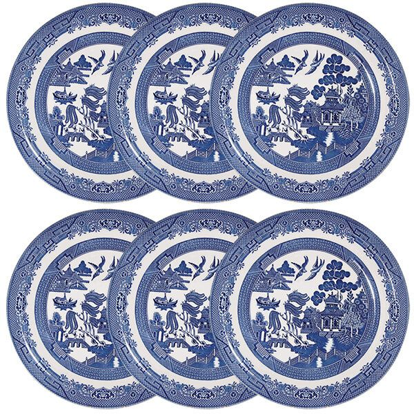 Churchill China Blue Willow Dinner Plate 26cm Set Of 6