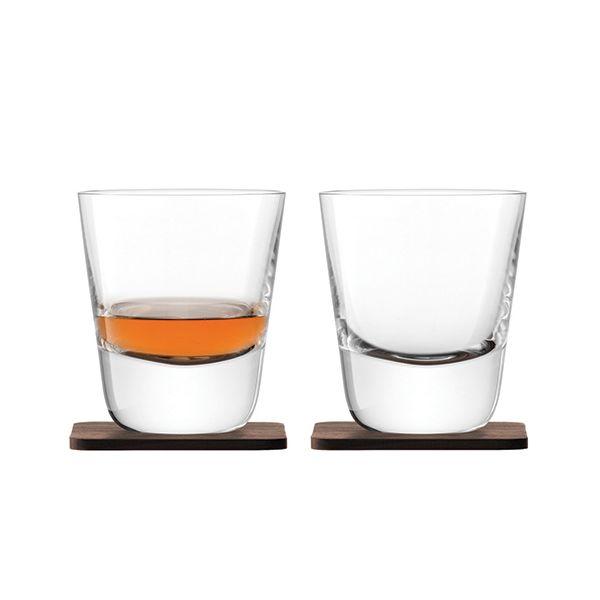 LSA Whisky Arran Tumbler 250ml Clear With Walnut Coaster Set Of 2
