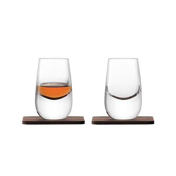 LSA Whisky Islay Shot Glass 80ml Clear With Walnut Coaster Set Of 2