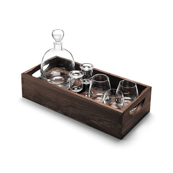 LSA Whisky Islay Connoisseur Set Clear & Walnut Tray