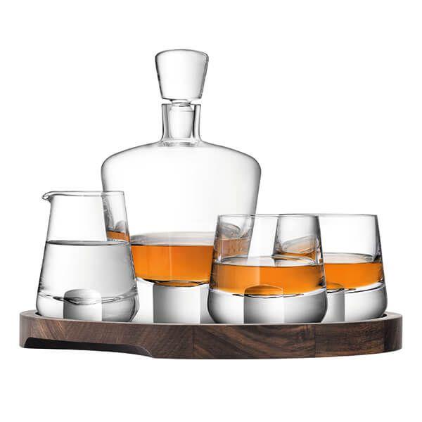 LSA Whisky Cut Connoisseur Set & Walnut/Cork Serving Tray