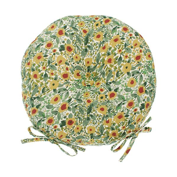 Walton & Co Wildflower Round Seat Pad With Ties