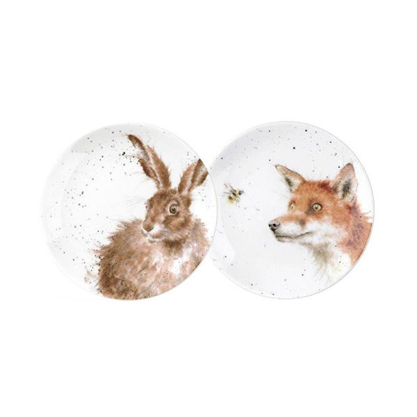 Wrendale Designs Set Of 2 Coupe Plates (Fox & Hare)