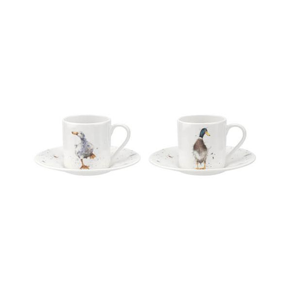 Wrendale Designs Demitasse Cups & Saucers Set Of 2 Ducks