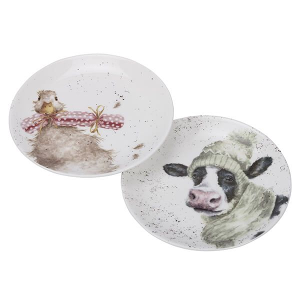 Wrendale Designs Christmas Collection Coupe Plate Set Of 2 Cow & Duck