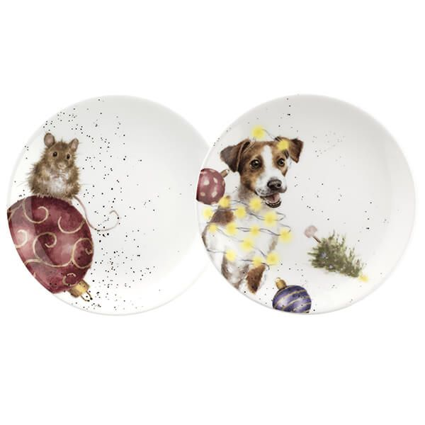 Wrendale Designs Christmas Collection Coupe Plate Set Of 2 Mouse & Dog