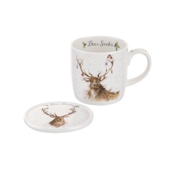 Wrendale Designs Mug & Coaster Deer Santa 6 for 5
