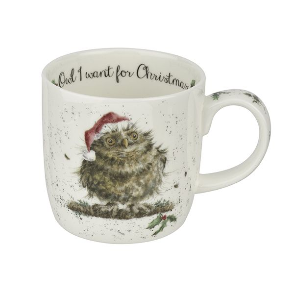 Wrendale Designs Fine Bone China Mug Owl I Want For Christmas